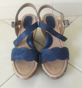 B.O.C Blue Straps Cork Floral Wedge Sandals 6M